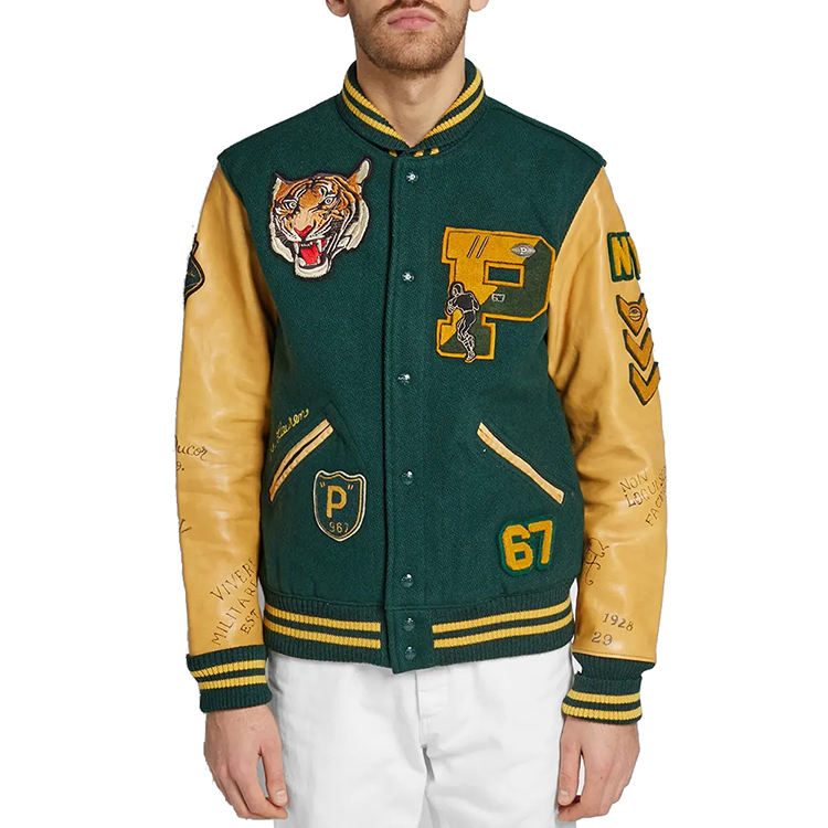 Custom embroidery leather sleeve baseball letterman varsity jacket for men