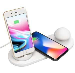 3 in 1 wireless charger station LED mushroom lamp is applicable to lightning/Android/Type-C pedestal phone charger