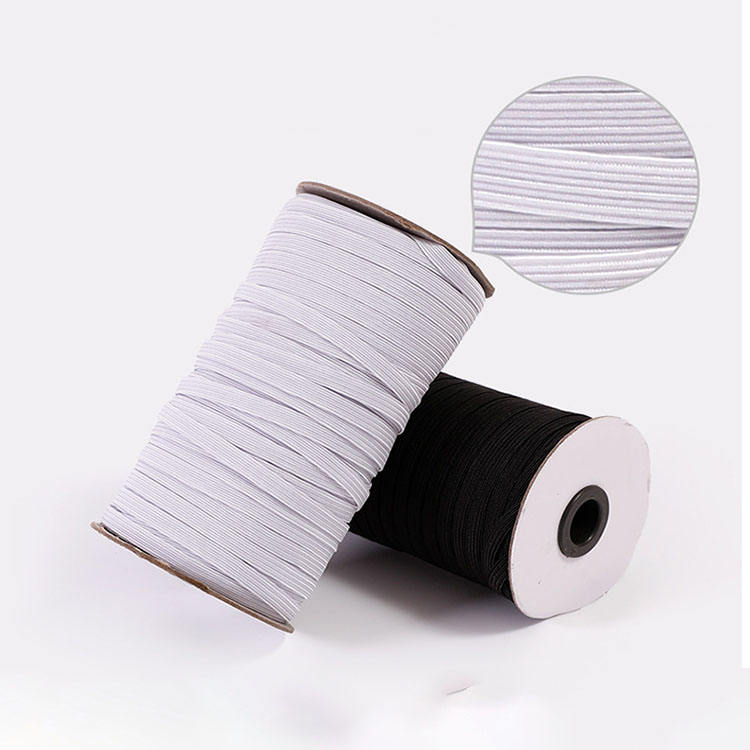 100% Polyester [ White Elastic ] Flat Elastic Black High Quality Colorful 3/4 7/8/12 Mm Flat Inch Solid Sewing Black White Elastic Band Webbing