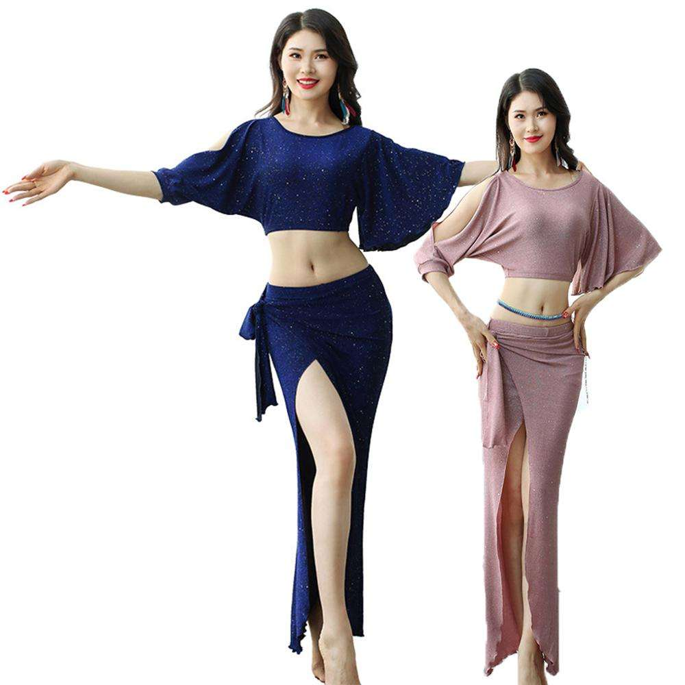 2020 Ultramodern Women's Illusion Asymmetrical Glitter For Belly Dance Practice Costumes Outfit set