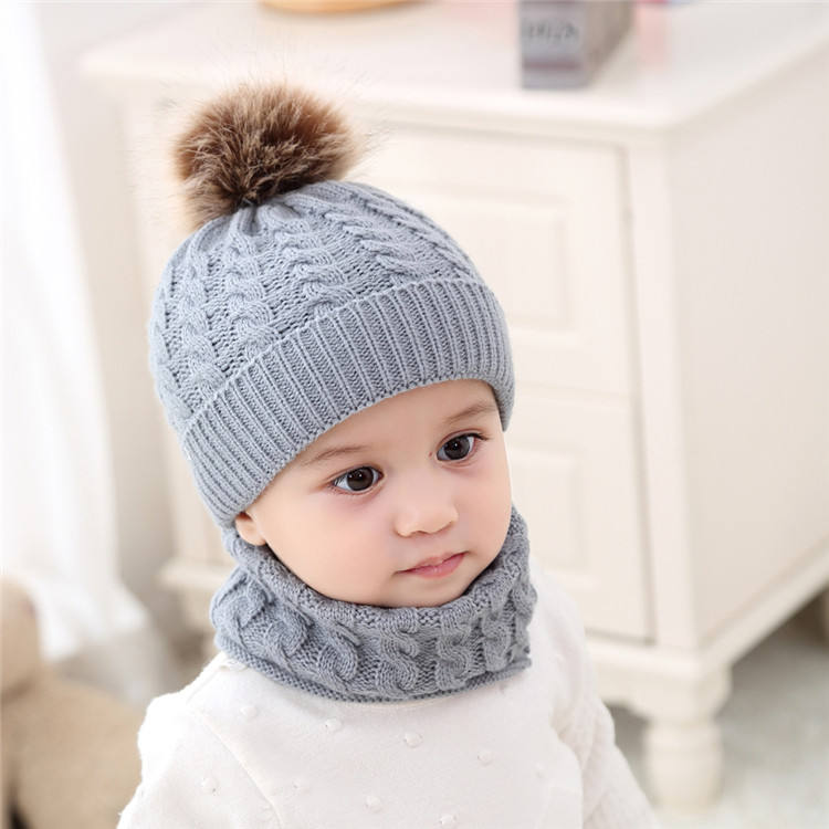 Top fashion knitted winter hat children acrylic beanie hat scarf
