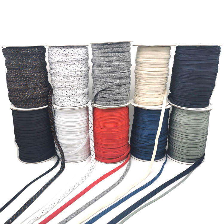 Manufacturer supplier polyester flat rope 1cm flat drawstring for shoelace or handle flat cord