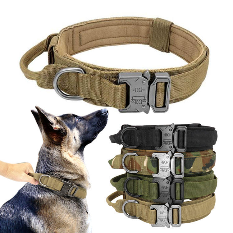 Heavy duty multiple colour pet training quick release metal buckle padded military tactical dog collar with handle