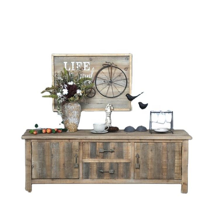 industrial living room home furniture design antique finish shabby chic rustic reclaimed wood tv stand cabinet with drawers