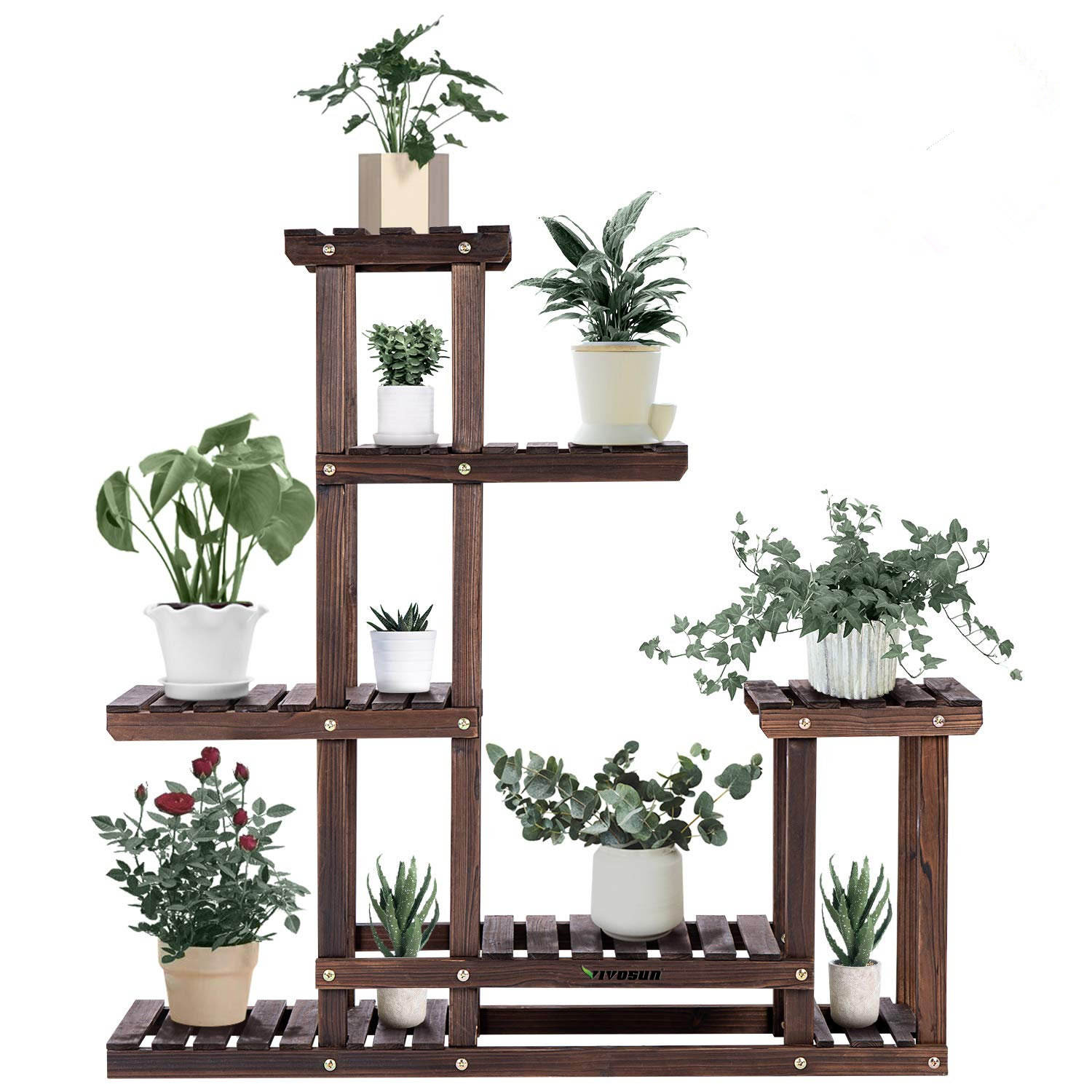 Wood Plant Stand High Low Shelves Flower Rack Display for Indoor Outdoor Garden