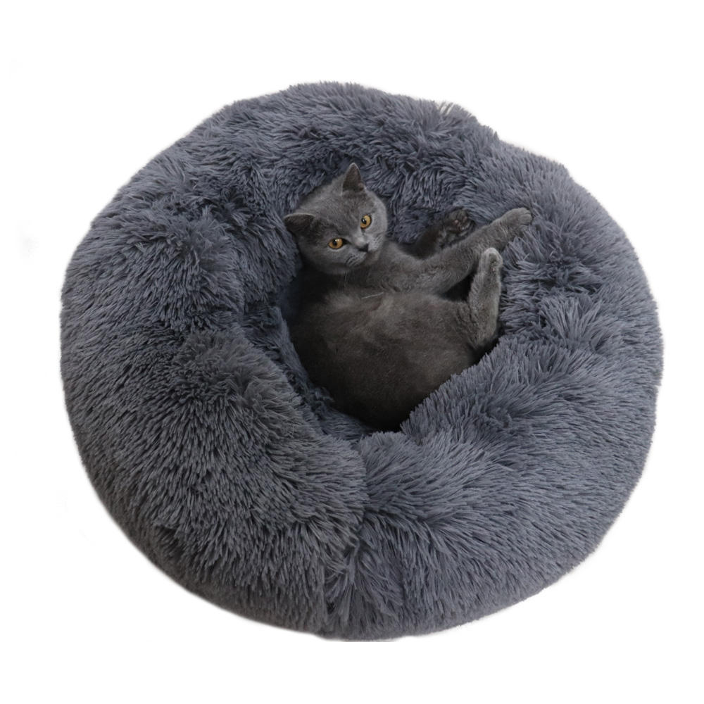 Round Cat Bed House Soft Long Plush Waterproof Play For Large Pet comfortable Luxus Donut Runde Hund Bett