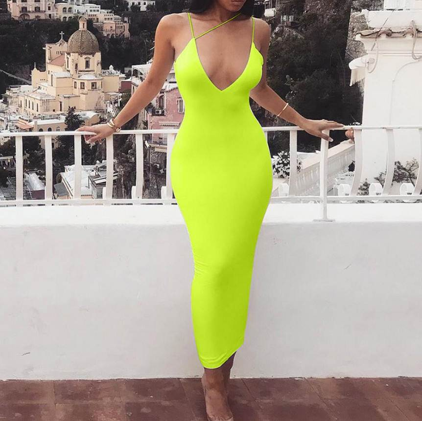 Hot Selling Summer New Women Sling V Neck Sexy Long Dress Female Fashion Clothing Girl Casual Elegant Apparel
