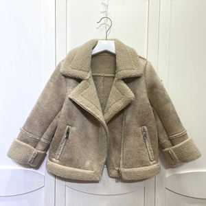 Lamb Fur Coat Kids Sheep Shearing Coat Fashion Winter Warm Children Wool Fur Coat