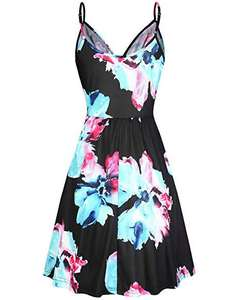 Women's V Neck Floral Spaghetti Strap Summer Casual Dress Sleeveless Wrap Midi Sundress with Pocket
