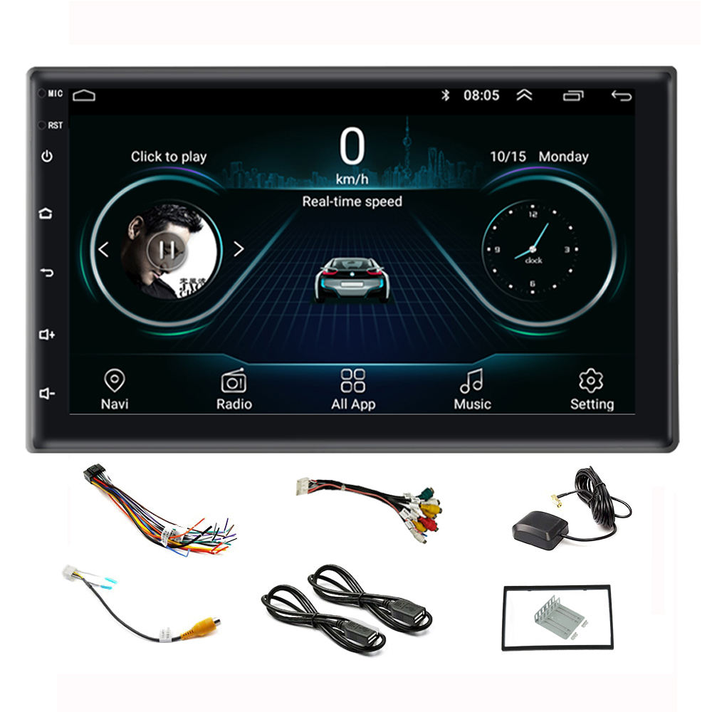 Stereo Mobil Android Layar Sentuh 7 Inci, Stereo BT Mirror Link 1 + 16G MP5 Player GPS <span class=keywords><strong>Radio</strong></span> Mobil Navigasi 2 Din