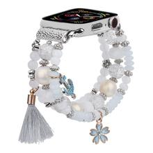 Women Fashion Charm for Apple Watch Band Beads Elastic Luxury Crystal Pearl Replacement Strap for iWatch Series 5 4 3 38mm/40mm