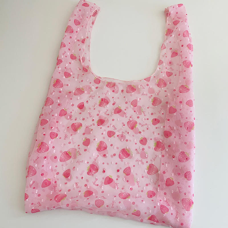 Korean Creative Cute Embroidered Flower Girl Organza Tote Handbag Elegent Small Daisy Cherry Mesh Shopping Shoulder Bag