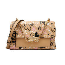 Female 2020 new Korean fashion graffiti small square bags leather shoulder crossbody bag with chain