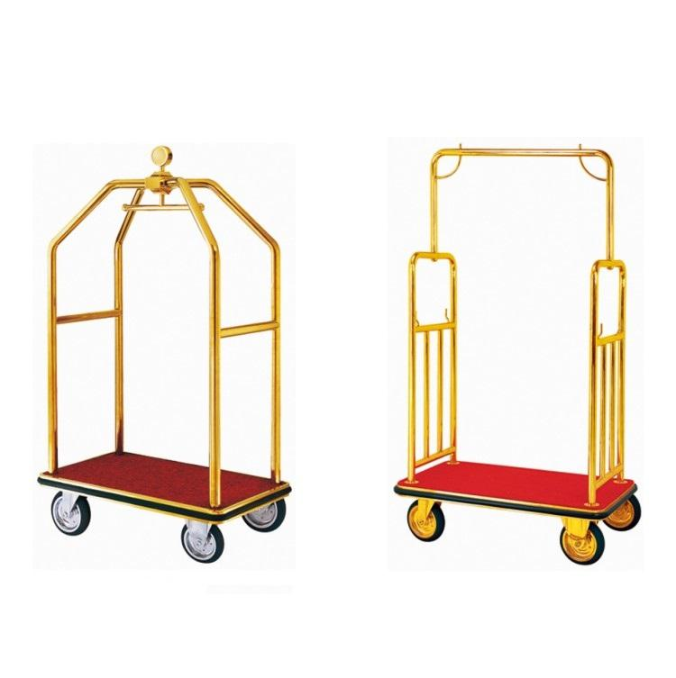 Lobby Service Golden Hand Lightweight Metal Hotel Luggage Carts