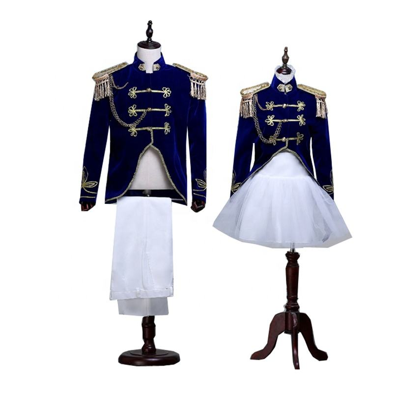 Halloween Costumes Adult King Prince Renaissance Medieval Men Women Cosplay Costume Coat Pant Dress
