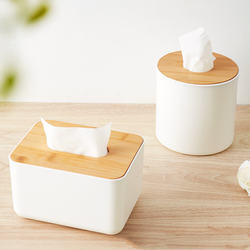 Bamboo Wood Cover Plastic Tissue Box Holder Storage Organize