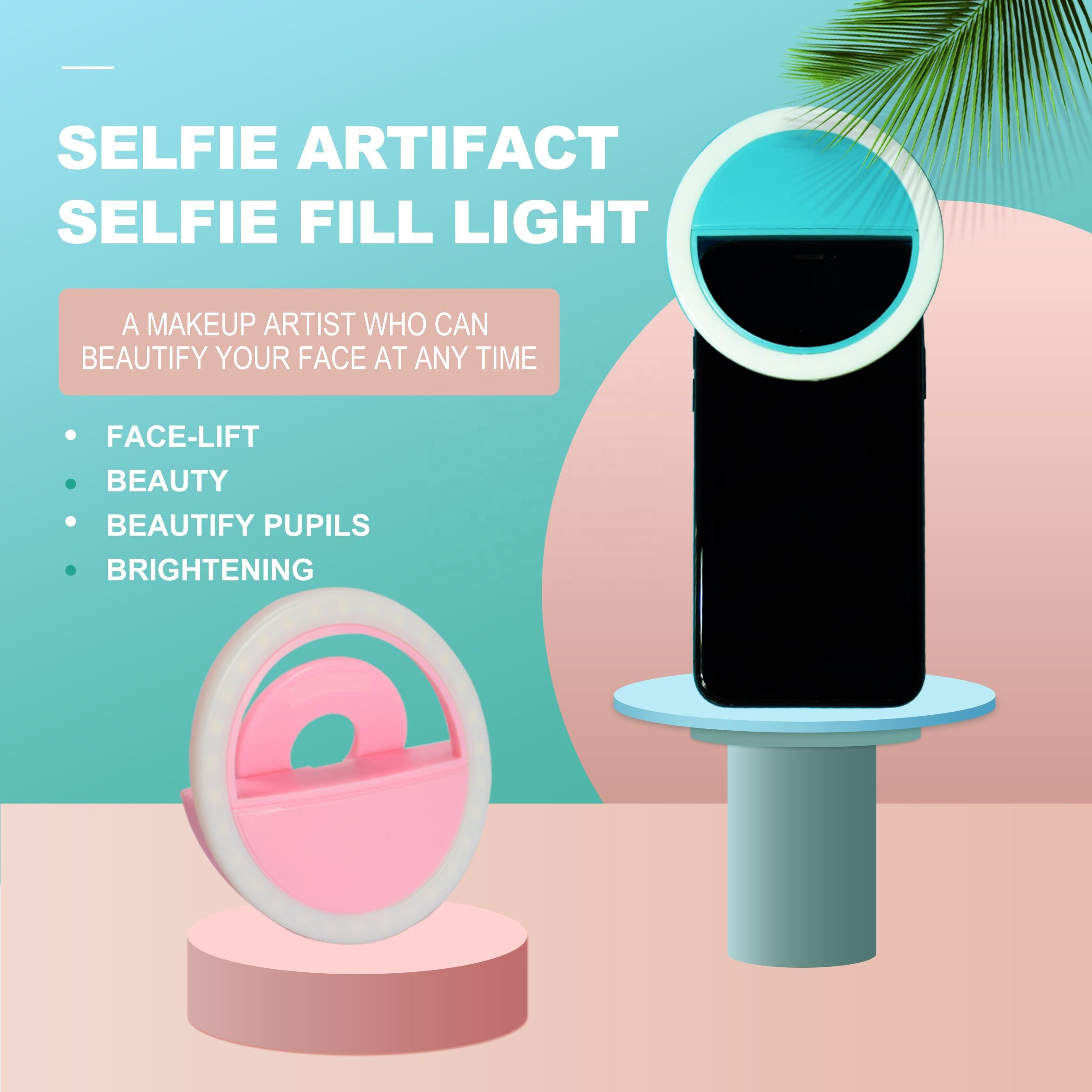 Wholesale 4 Colors USB Selfie Fill Light Girl Make Up Light LED Rechargeable Ring Light For Cell Phone