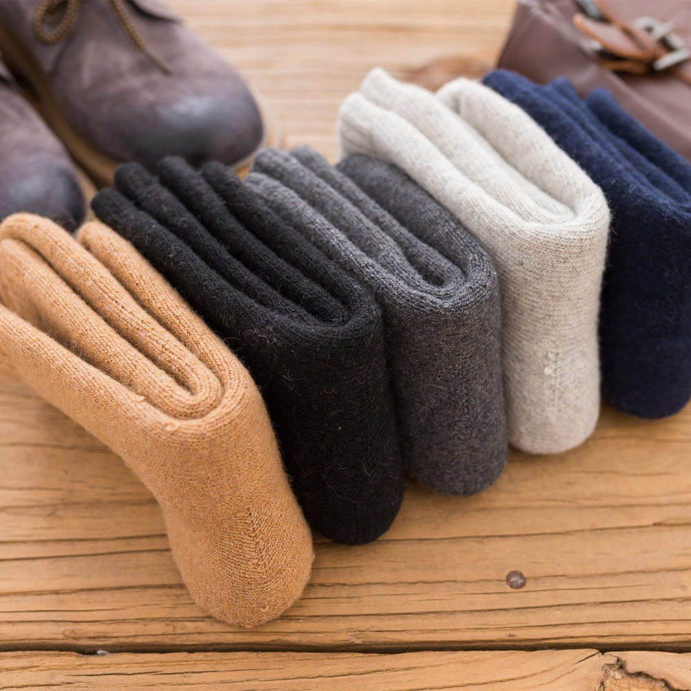 6 Choices Solid Color Ten Pairs in One Pack Winter Fashion Cashmere Socks Set Thick Warm Mens Wool Cashmere Socks