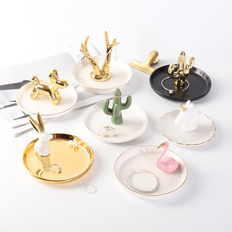 Creative Antler Jewellary Tray Gold Plating Accessories For Household Home Deco