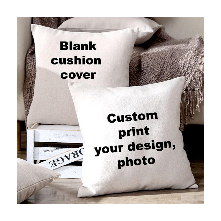 Buti Square White polyester plain cotton linen fabric Custom print blank sublimation cushion cover