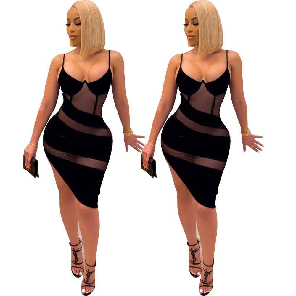 Women's sexy V-neck sling gauze perspective wrapped chest and buttocks nightclub dress