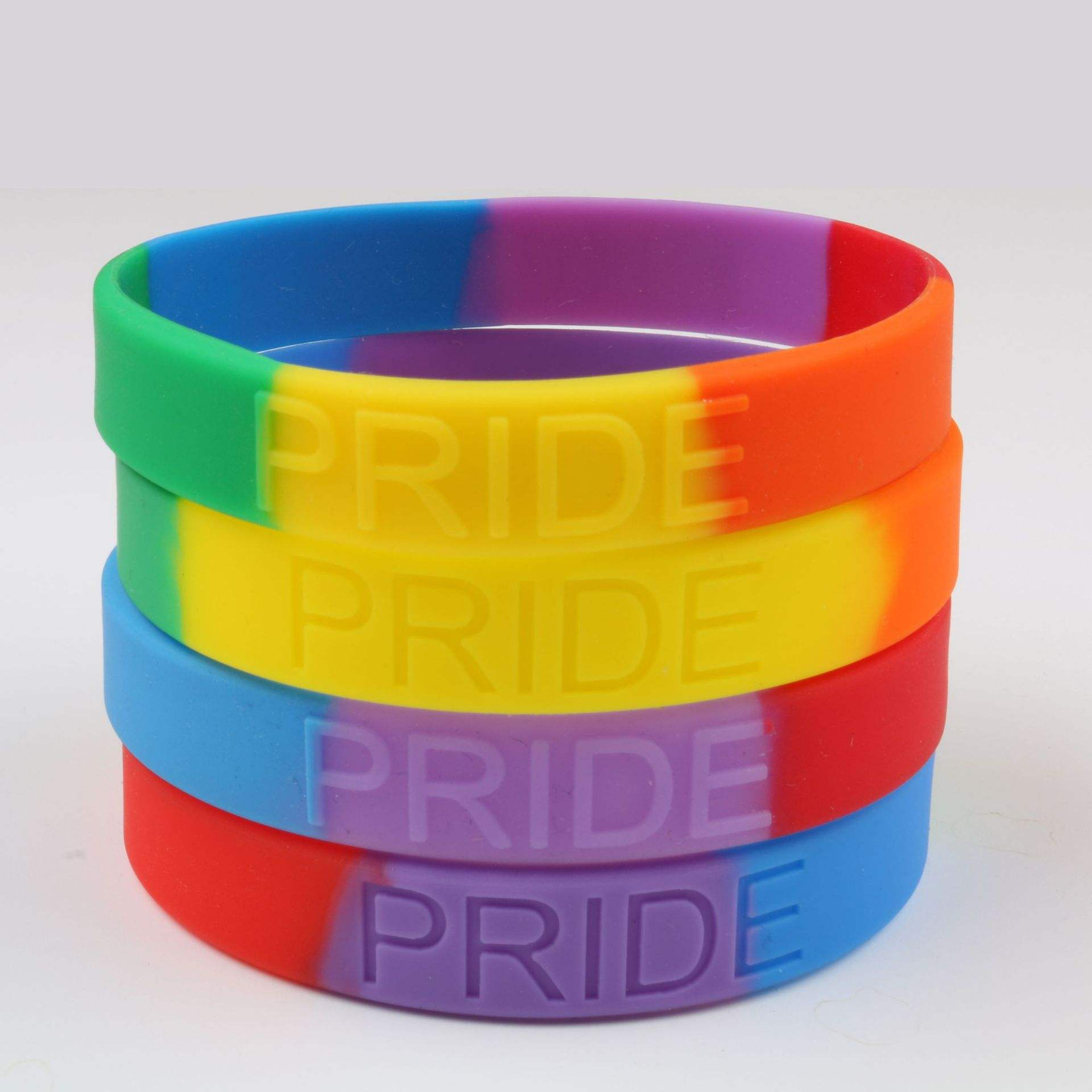 Custom Ink-filled Silicone Bracelets Rainbow Silicone Wristbands With Debossed Logo silicone slap bracelet