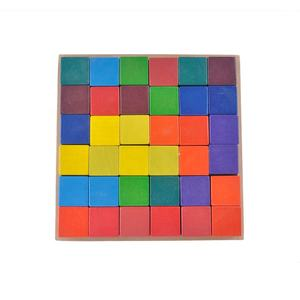 wooden rainbow block 36 pieces cubes stacker diy toys wooden building blocks