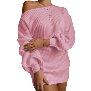 Fashion Casual Women Lady Jumper Oversized Sweaters Knitted dress sexy off The shoulder knit