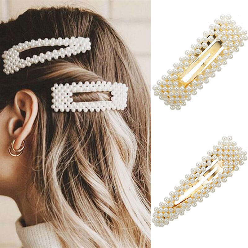 Rhinestone [ Hair Accessories Women ] Barrette Set Hair Accessories Simulation Pearl Barrette Set Hair Accessories For Women Fashion Wedding Jewelry Ivory Bead Hairpins Clip Girls