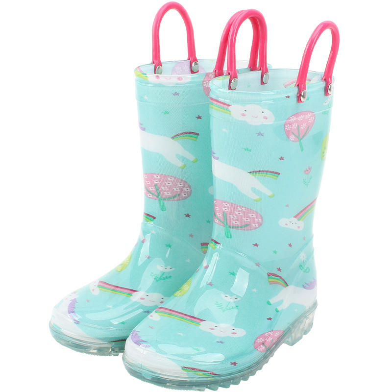 Children's rain boots baby water shoes boys and girls non-slip plastic sleeves ace handles carton unicorns kids waterproof shoes