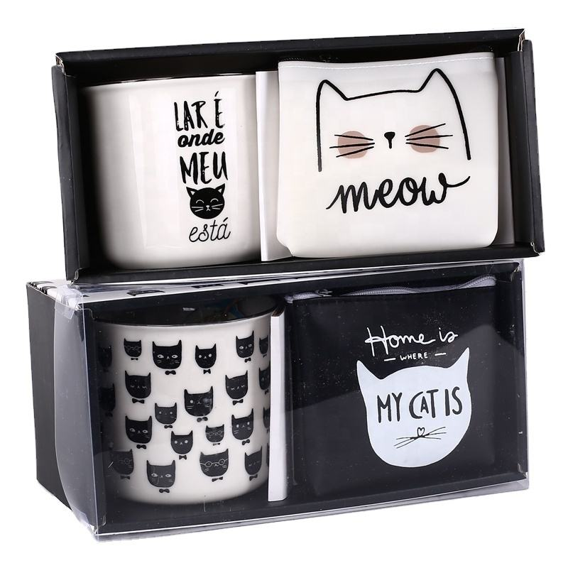 best selling breakfast ceramic porcelain enamel mug gift set cute cup with Canvas pouch