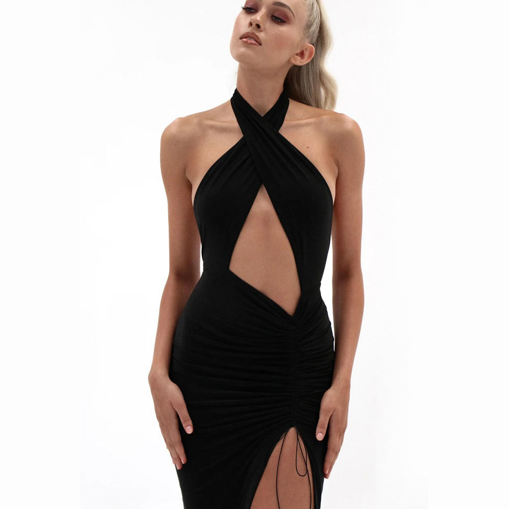Fashion 2020 women' s Summer Cocktail Dress Hot Popular Solid Black Cotton Dress Hollowed out Sexy Evening Dress