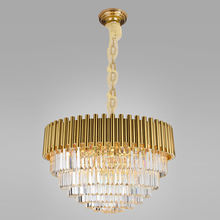 Modern golden big round k9 crystal kitchen chandelier living room led hanging luxury luster pendant light