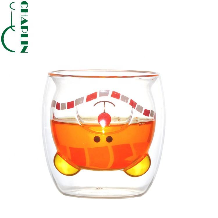 Bear Shape Double Wall Glass Drinking Cup For Christmas Gifts Creative Snowman Elk 150ミリリットル200ミリリットル250ミリリットル