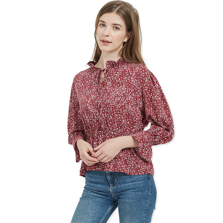 Factory Sells Custom Women's Woven Floral Print Ruffled Long-sleeved Bow Tie Neck Top Tops For Ladies
