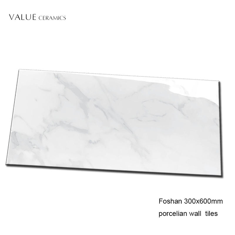 Foshan Porcelain low water absorption 300x600 white gloss wall tile