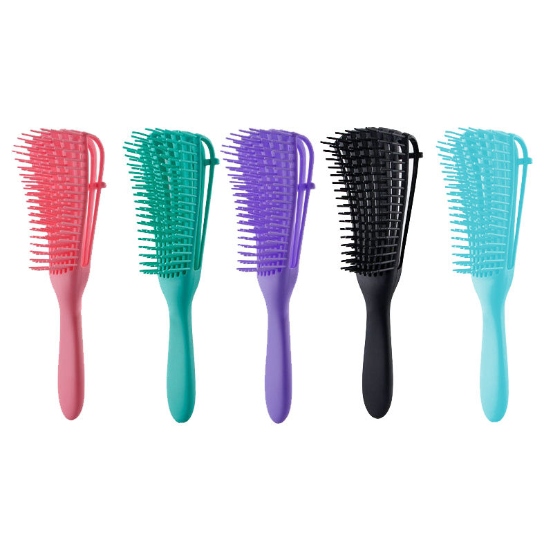 Wholesale Custom Logo Products Eight Rows Detangling Massage Detangle Hair Brush For Curly Hair Brush plastic hair comb