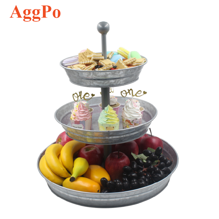 Galvanized Iron 3 Layer Cake Stand, Fruit Snacks Cupcake Nuts Plate Tray, Desserts Fruits Candy Wedding Party Serving Platter