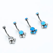 ASTM F136 Titanium Internally Threaded Belly Ring Navel Curve Banana with Prong Set Opal or Cubic Zircon Cluster Disc