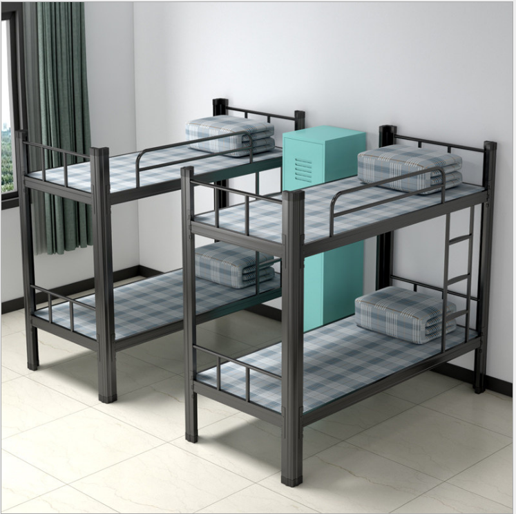 Durable army double decker metal bunk bed with storage cabinets