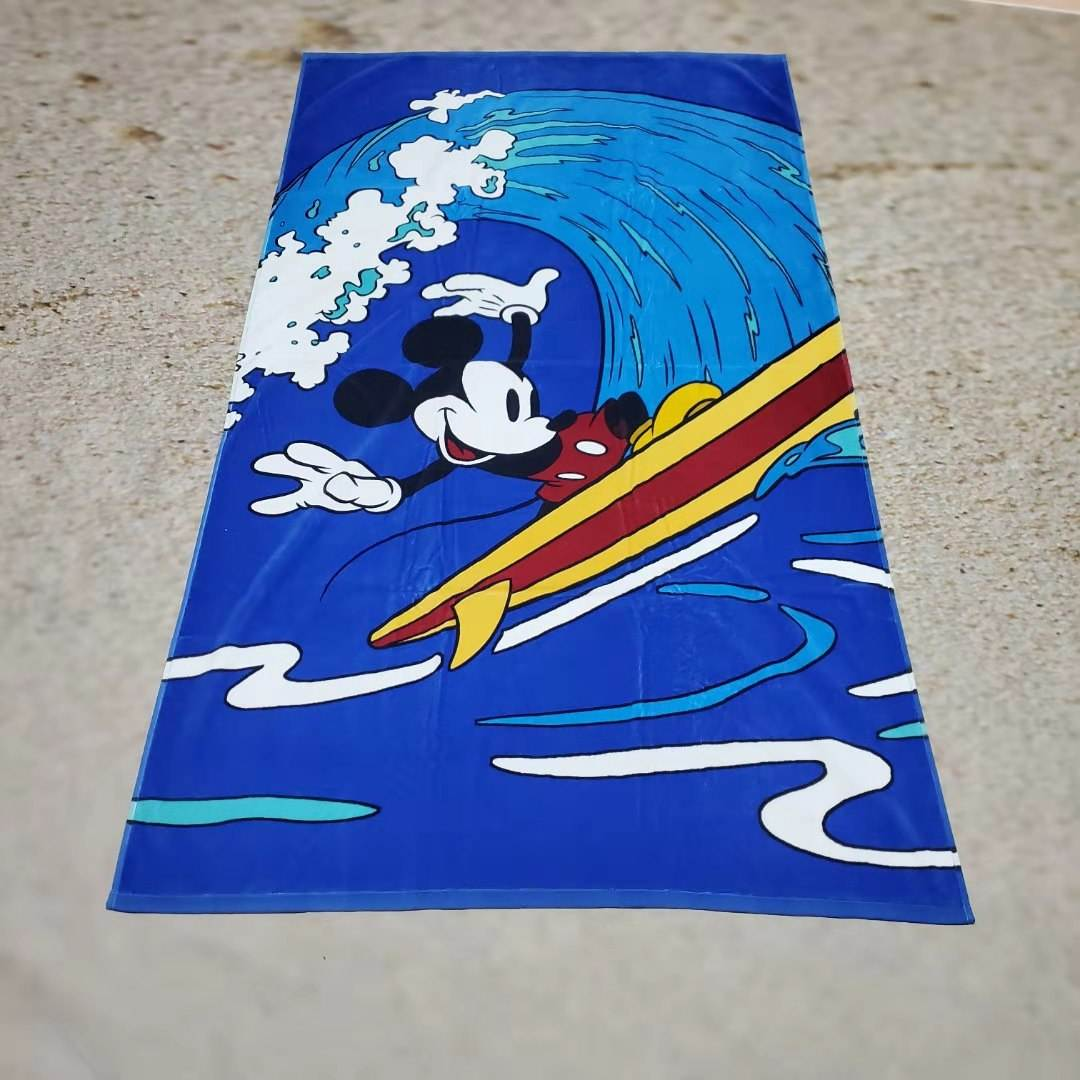 beach outdoor use custom design double side print cotton beach towel high quality