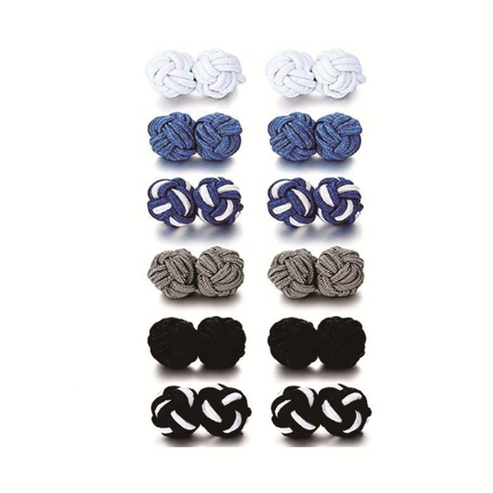gentlemen father's day elastic rope knit cord twist knot cufflinks in stock