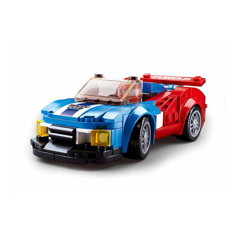 Sluban Bouwstenen M38-B0633E Blue & Red Racing Auto Van Auto Club 164 Pcs Auto Racing Speelgoed Bouw Kit Voor kids