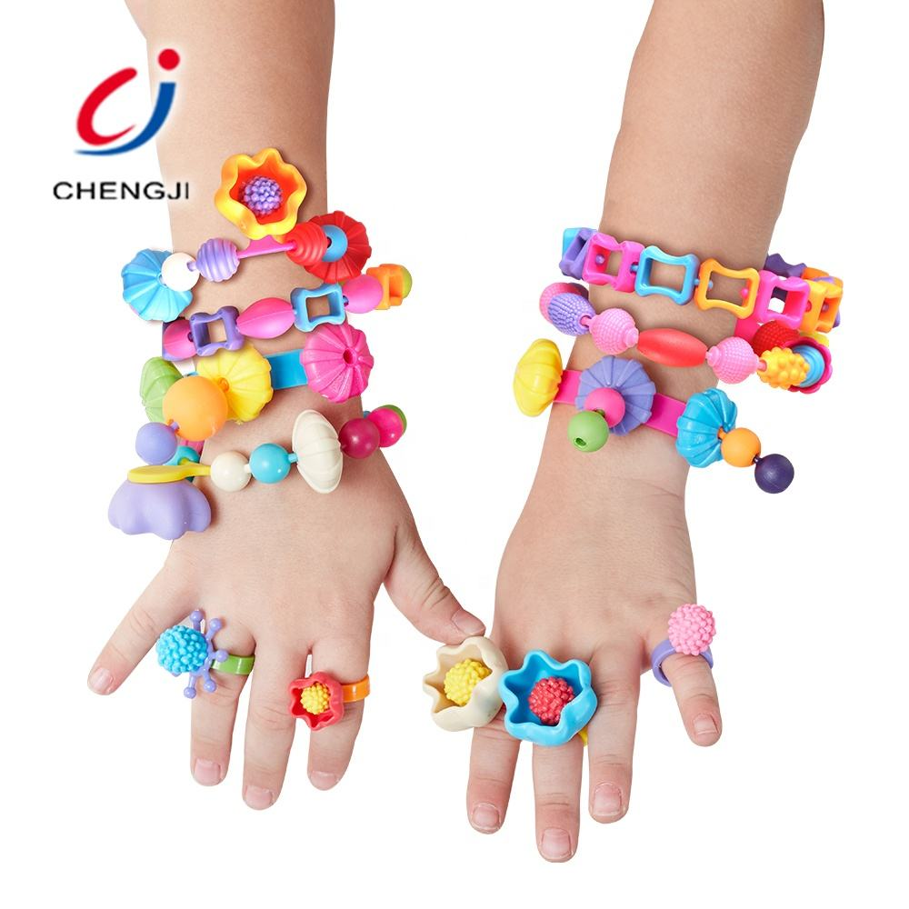 Colorful plastic girl fashion 48 pcs jewelry toys deluxe diy beads set