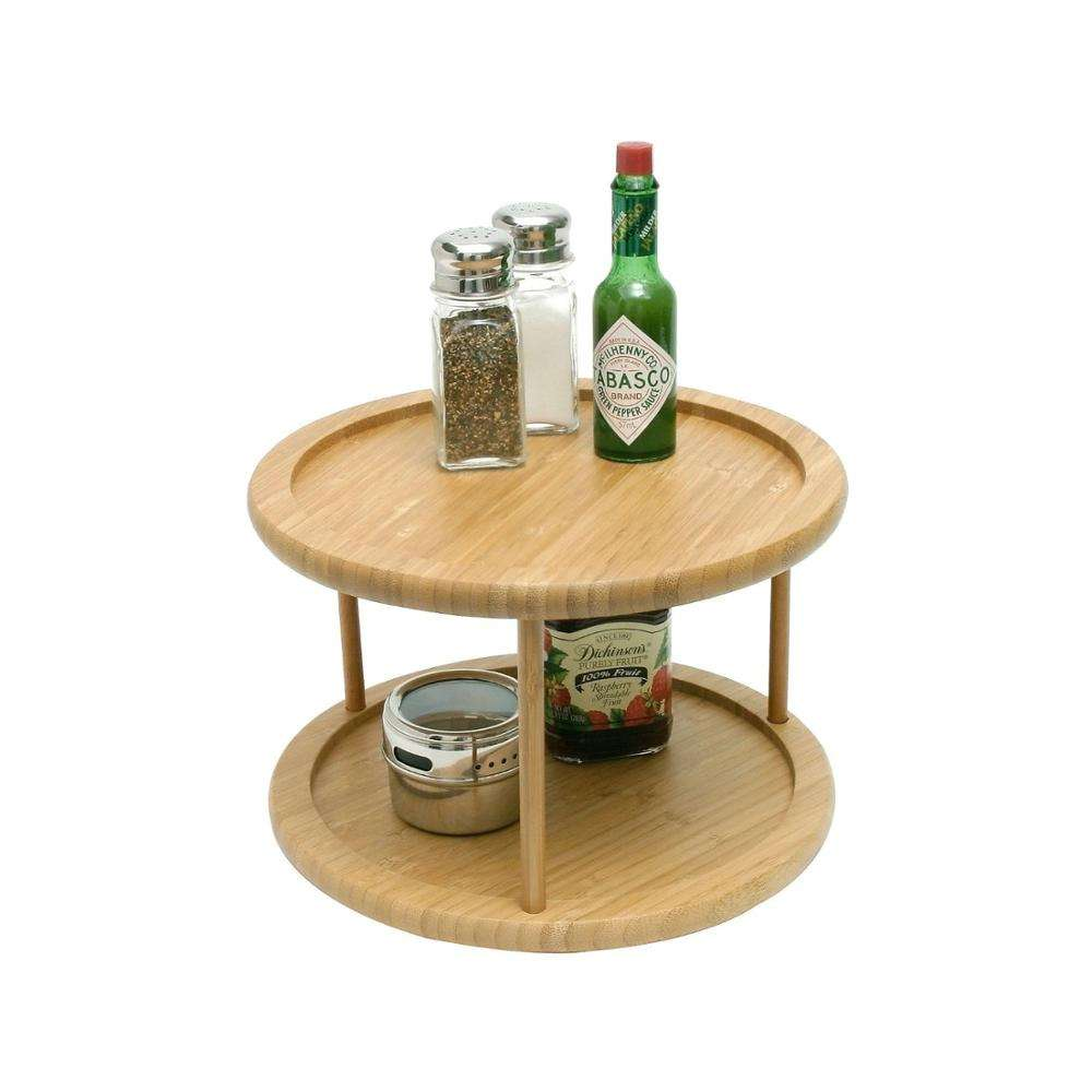 Bamboo round dining 2 tier lazy susan turntable for table wholesale