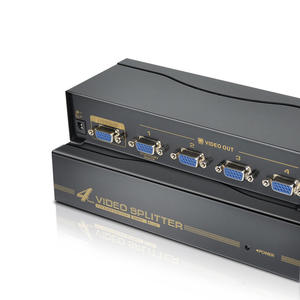 Txr 4 Port Video VGA Splitter Distribution Amplifier dengan Remote Control Terbaik 4way Kotak Hitam 500MHz