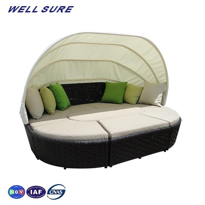 <span class=keywords><strong>Casa</strong></span> de ocio de mimbre en forma de cama solar sombrilla Patio al aire libre redondo único sofá cama