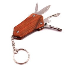 Folding Pocket Knife Outdoor Multifunction Stainless Steel Bottle Opener Screwdriver Rosewood Keychain