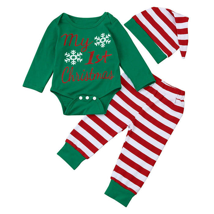 Hot Selling Newborn Christmas Cotton Clothing Baby Romper Snowflake Striped Three-piece for Winter