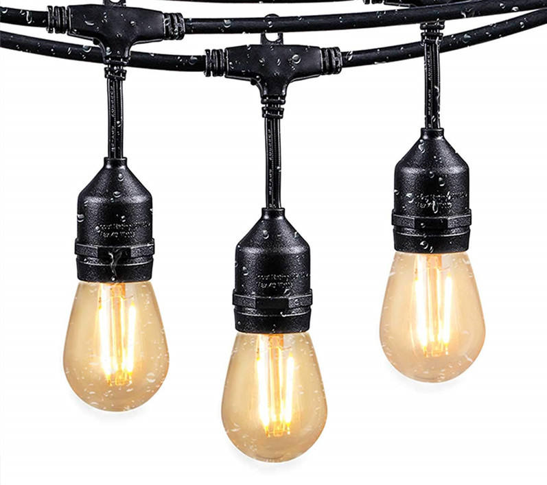 UL E26 S14 48FT 15LT LED filament Commercial Patio Outdoor String Lights